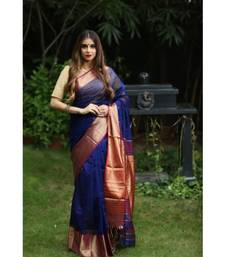 Blue Shade Handwoven Maheshwari Silk Saree