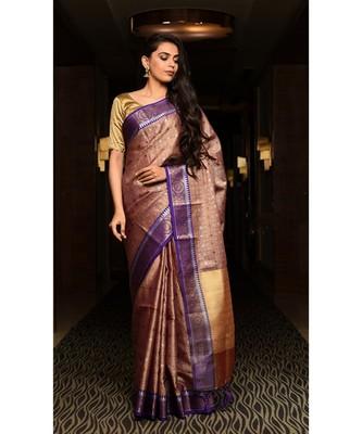 Multicolor Handwoven Kora Muslin Banarasi Saree