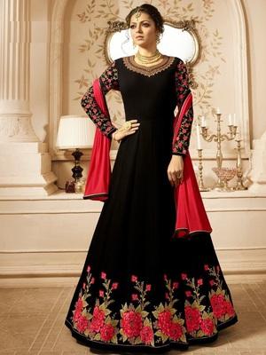 Black embroidered Georgette Anarkali salwar Suit