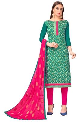 Teal Banarasi Silk Woven Work Un-stitched dress material