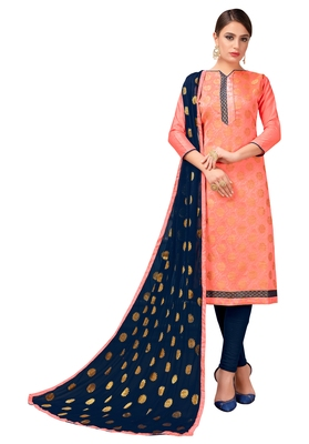 Peach Banarasi Silk Woven Work Un-stitched festive-salwar-suits