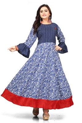 Blue printed cotton long kurti