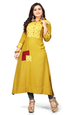 Yellow printed cotton long kurti
