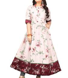 Cream printed satin long kurti