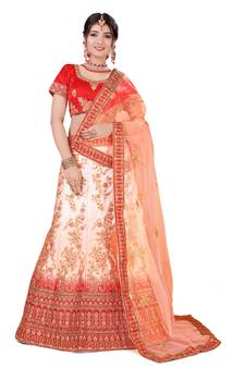 4f16c5484a2a8 Multicolor embroidered silk semi stitched lehenga with dupatta. Shop Now