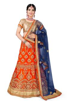 bf50626014b7e Orange embroidered net semi stitched lehenga with dupatta. Shop Now