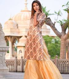 Beige silk mirror print kurta with sharara