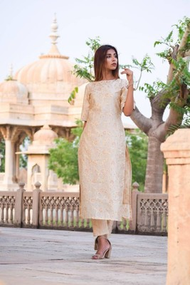 Beige silk kurta with pants