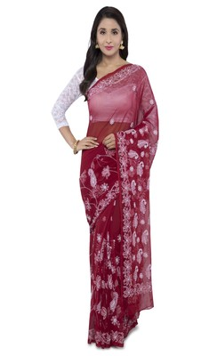 Maroon embroidered faux georgette chikankari saree with blouse