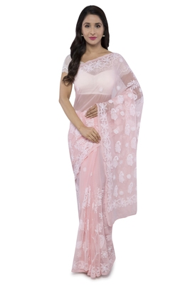 Peach Embroidered Faux Georgette Chikankari Saree With Blouse