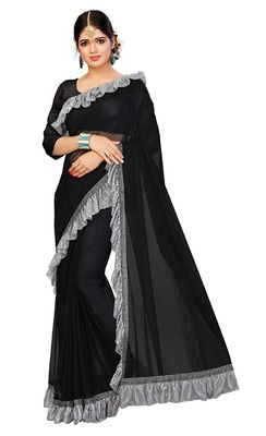 845b98dab0 Black plain lycra ruffle saree with blouse - Shonaya - 2862736