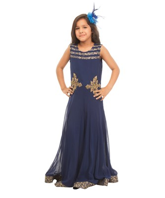 SOFT GEORGETTE BLUE GOWN WITH HAND EMBROIDERY