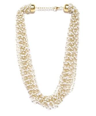 Infuzze Gold-Toned & White Layered Necklace