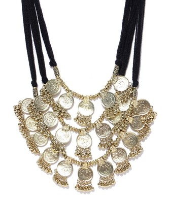 Infuzze Antique Gold-Toned Layered Necklace