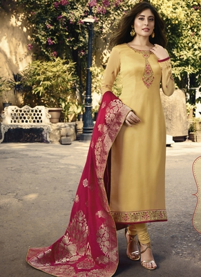Yellow embroidered georgette salwar with dupatta
