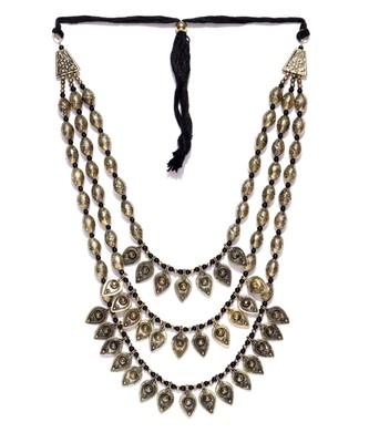 Infuzze Antique Gold-Toned & Black Layered Necklace