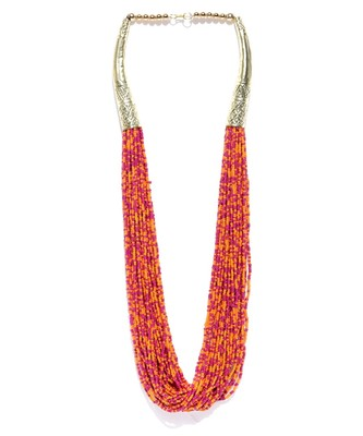 Infuzze Orange & Pink Beaded Handcrafted Multistranded Necklace