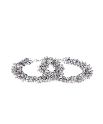 Infuzze Set of 2 Oxidised Silver-Toned Textured Anklets