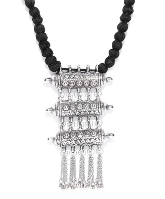 Infuzze Oxidised Silver-Toned & Black Textured Tribal Necklace
