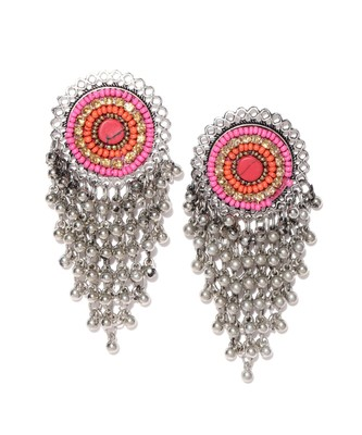 Infuzze Oxidised Silver-Toned & Pink Beaded Classic Drop Earrings