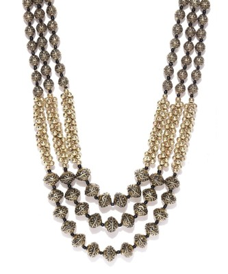 Infuzze Antique Gold-Toned Layered Tribal Necklace