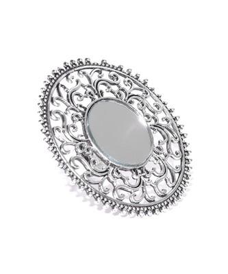 Infuzze Women Oxidised Silver-Toned Mirror-Work Textured Adjustable Tribal Ring