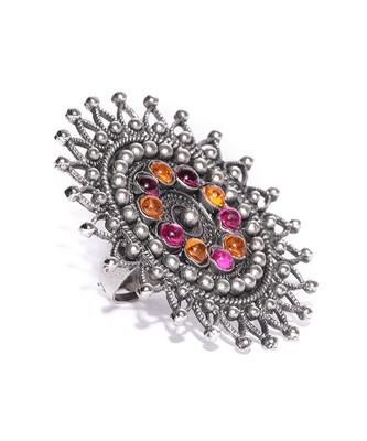Infuzze Oxidised Silver-Toned & Pink Stone-Studded Adjustable Oversized Ring