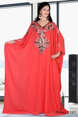 Light red embroidered georgette islamic kaftan