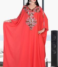 Light red embroidered georgette islamic kaftan