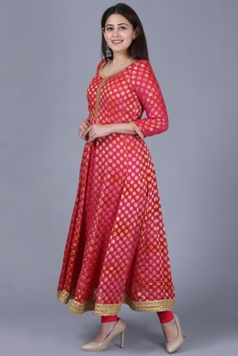 Pink Red Georgette Banarsi Anarkali with Leggings