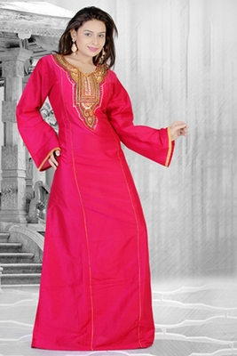 Rani-pink embroidered georgette islamic kaftan