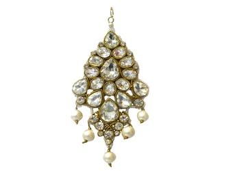 Golden White Kundan Pearl Passa For Hairs