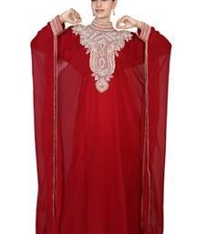 Maroon embroidered georgette islamic kaftan