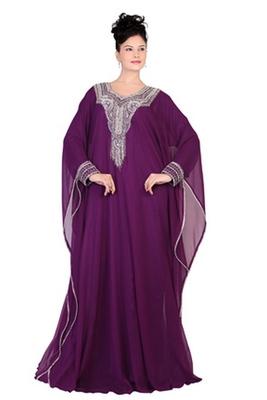 Wine embroidered georgette islamic kaftan