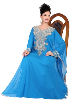 Sky-blue embroidered georgette islamic kaftan