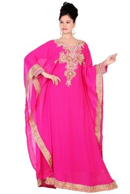 Rani-pink embroidered georgette islamic kaftan