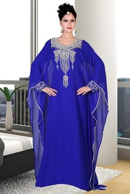 Blue embroidered georgette islamic kaftan