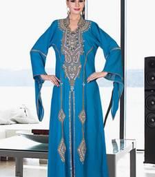 Sky-blue embroidered georgette islamic kaftan