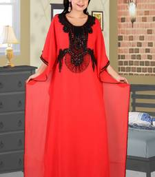 Light-red embroidered georgette islamic kaftan