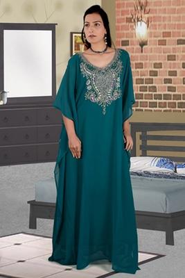 Teal-green embroidered georgette islamic kaftan