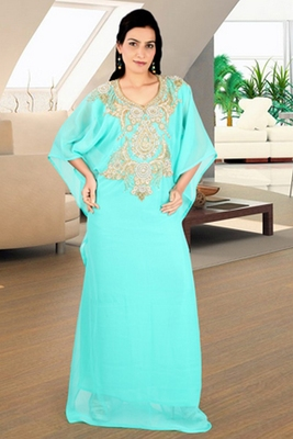 Light-green embroidered georgette islamic kaftan