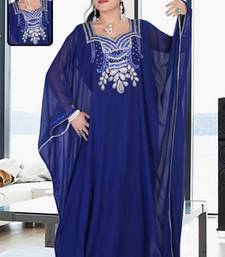 Navy-blue embroidered georgette islamic kaftan