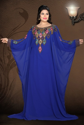 Royal-blue embroidered georgette islamic kaftan