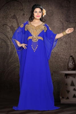 Royal-blue embroidered georgette islamic kaftan