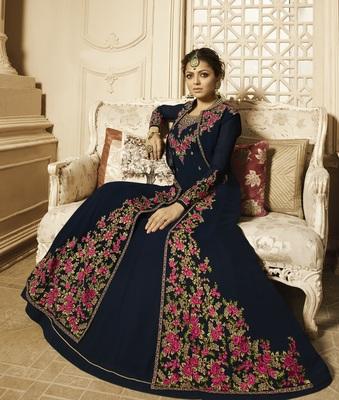 Dark-blue self design georgette salwar with dupatta