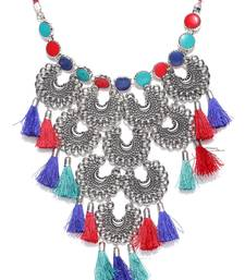 Infuzze Multicoloured Tasselled Statement Necklace