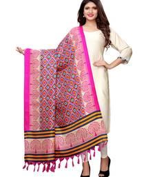 Pink Bhagalpuri Silk Printed Women'S Dupatta