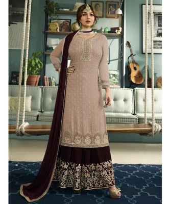 brown embroidered faux georgette semi stitched salwar with dupatta