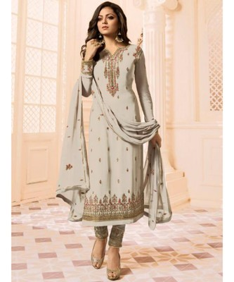 beige embroidered faux georgette semi stitched salwar with dupatta
