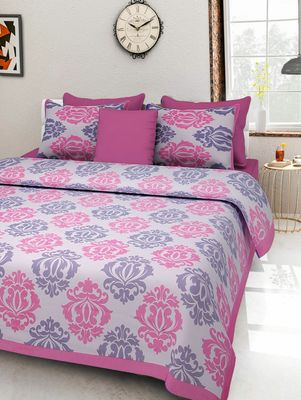 Dreamy Zone Pink Cotton Double Bedsheet with Pillow Cover